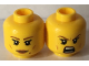 Part No: 3626cpb1639  Name: Minifigure, Head Dual Sided Female Brown Eyebrows, Eyelashes, Peach Lips, Beauty Mark, Smile / Open Mouth Bared Teeth Pattern - Hollow Stud