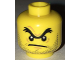 Part No: 3626cpb1701  Name: Minifigure, Head Black Unibrow, Angry Mouth, Stubble Pattern - Hollow Stud