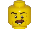 Part No: 3626cpb1748  Name: Minifigure, Head Moustache Brown Bushy, Black Eyebrows, Cheek Lines, Smile, White Pupils Pattern - Hollow Stud