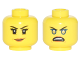 Part No: 3626cpb1759  Name: Minifigure, Head Dual Sided Female Black Eyebrows, Eyelashes, Dark Orange Lips / Blue Rimmed Eyes, Gold Pupils, Open Mouth Angry Pattern - Hollow Stud