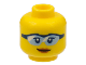 Part No: 3626cpb1766  Name: Minifigure, Head Female Glasses Light Blue with Black Frame, Peach Lips, Closed Mouth Smile Pattern - Hollow Stud
