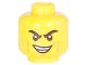 Part No: 3626cpb1792  Name: Minifigure, Head Black Eyebrows Furrowed, Cheek and Smirk Lines, Lopsided Smirk with Teeth Pattern - Hollow Stud