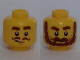 Part No: 3626cpb1804  Name: Minifigure, Head Dual Sided Brown Thick Eyebrows, Curly Moustache, Smirk / Thick Moustache, Bushy Beard Pattern - Hollow Stud