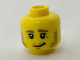 Part No: 3626cpb1812  Name: Minifigure, Head Dark Tan Eyebrows and Stubble, Black Eyes, Crooked Grin Pattern - Hollow Stud
