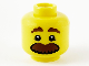 Part No: 3626cpb1813  Name: Minifigure, Head Brown Eyebrows and Large Moustache Pattern - Hollow Stud