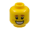 Part No: 3626cpb1815  Name: Minifigure, Head Dark Orange Eyebrows and Freckles, Wide Grin with Teeth Pattern - Hollow Stud