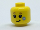 Part No: 3626cpb1817  Name: Minifigure, Head Child with Dark Tan Eyebrows, Black Eyes and Eyelashes, Lopsided Grin, Bright Light Blue Flower on Cheek Pattern - Hollow Stud