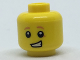 Part No: 3626cpb1818  Name: Minifigure, Head Child Dark Orange Eyebrows and Spot under Left Eye, Lopsided Open Grin Pattern - Hollow Stud