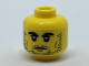 Part No: 3626cpb1820  Name: Minifigure, Head Black Thick Eyebrows and Stubble, Dark Tan Cheek Lines Pattern - Hollow Stud