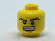 Part No: 3626cpb1822  Name: Minifigure, Head Black Wide Eyebrows, Wide Grin Showing Teeth, Dark Tan Dimple and Chin Pattern - Hollow Stud