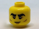 Part No: 3626cpb1828  Name: Minifigure, Head Black Thick Eyebrows, Reddish Brown Crow's Feet and Cheek Lines Pattern - Hollow Stud