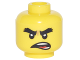 Part No: 3626cpb1874  Name: Minifigure, Head Black Bushy Eyebrows, Open Mouth Crooked Scowl Pattern (Cole) - Hollow Stud