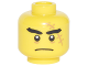Part No: 3626cpb1878  Name: Minifigure, Head Black Thick Eyebrows, Large Medium Nougat Scar with Stiches, Closed Mouth Frown Pattern - Hollow Stud