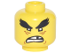 Part No: 3626cpb1881  Name: Minifigure, Head Black Bushy Eyebrows, Reddish Brown Wrinkes, Open Mouth Scowl with Missing Tooth Pattern - Hollow Stud
