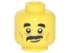 Part No: 3626cpb1886  Name: Minifigure, Head Black Short Eyebrows, Medium Dark Flesh Cheek Lines, Black Moustache, Slight Smile Pattern - Hollow Stud