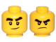 Part No: 3626cpb1893  Name: Minifigure, Head Dual Sided Black Bushy Eyebrows, Smile / Angry Pattern (Cole) - Hollow Stud