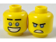 Part No: 3626cpb1894  Name: Minifigure, Head Dual Sided Black Straight Eyebrows, Medium Blue Eyes, Smile / Scowl Pattern - Hollow Stud