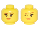 Part No: 3626cpb1901  Name: Minifigure, Head Dual Sided Female Reddish Brown Eyebrows, Medium Nougat and Orange Lips, Crooked Smile / Winking Pattern - Hollow Stud