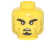 Part No: 3626cpb1902  Name: Minifigure, Head Black Eyebrows, Goatee, Stubble and Large Medium Dark Flesh Scar with Stitches Pattern - Hollow Stud