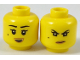 Part No: 3626cpb1905  Name: Minifigure, Head Dual Sided Female Black Eyebrows, Beauty Mark, Dark Tan Lips, Open Mouth Smile / Scowl Pattern (Nya) - Hollow Stud