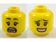 Part No: 3626cpb1926  Name: Minifigure, Head Dual Sided Female Black Eyebrows, Red Lips, Scared / Smile with Teeth Pattern - Hollow Stud
