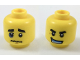 Part No: 3626cpb1947  Name: Minifigure, Head Dual Sided Black Eyebrows, Wrinkled Mouth, Blue Black Eye / Confident Grin, Medium Blue Mouthpiece Pattern - Hollow Stud