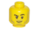 Part No: 3626cpb1965  Name: Minifigure, Head Beard Stubble, Black Raised Right Eyebrow, Smirk Angled to Right, White Pupils Pattern - Hollow Stud
