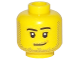 Part No: 3626cpb1966  Name: Minifigure, Head Male Smirk, Peach Mark, Pupils, Stubble Beard and Moustache and Sideburns Pattern - Hollow Stud