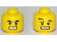 Part No: 3626cpb1967  Name: Minifigure, Head Dual Sided Black Eyebrows, Gold Tooth, Five Bee Stings, Determined / Crestfallen Pattern - Hollow Stud