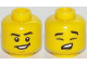 Part No: 3626cpb1974  Name: Minifigure, Head Dual Sided Male Black Eyebrows, Wide Smile, Chin / Eyes Closed, Singing Pattern - Hollow Stud