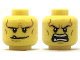 Part No: 3626cpb2039  Name: Minifigure, Head Dual Sided Black Eyebrows, White Pupils, Chin Dimple and Cheek Lines, Smile with Tooth / Open Mouth Angry Pattern - Hollow Stud