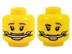 Part No: 3626cpb2042  Name: Minifigure, Head Dual Sided Female Dark Brown Eyebrows, Freckles, Headgear Braces, Smile with Teeth / Raised Eyebrow Pattern - Hollow Stud
