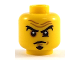 Part No: 3626cpb2051  Name: Minifigure, Head Black Eyebrows and Goatee, Brown Forehead Wrinkles, Worried Look Pattern - Hollow Stud