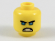 Part No: 3626cpb2056  Name: Minifigure, Head Black Straight Eyebrows, Medium Blue Eyes, Semicircle Scowl Pattern - Hollow Stud
