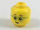 Part No: 3626cpb2088  Name: Minifigure, Head Child Medium Nougat Eyebrows, Lime Glasses Pattern - Hollow Stud