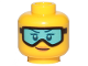 Part No: 3626cpb2139  Name: Minifigure, Head Female Glasses with Light Blue Ski Goggles, Orange Lips and Smile Pattern - Hollow Stud