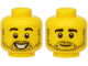 Part No: 3626cpb2143  Name: Minifigure, Head Dual Sided Black Eyebrows and Stubble, Smiling / Neutral Expression Pattern - Hollow Stud