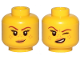 Part No: 3626cpb2145  Name: Minifigure, Head Dual Sided Female Reddish Brown Eyebrows, Medium Nougat Freckles and Lips, Small Smirk / Left Eye Squinted Pattern - Hollow Stud