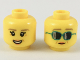 Part No: 3626cpb2150  Name: Minifigure, Head Dual Sided Female Dark Tan Eyebrows, Medium Nougat Crow's Feet, Peach Lips, Smile / Dark Turquoise Sunglasses Pattern - Hollow Stud