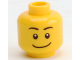 Part No: 3626cpb2173  Name: Minifigure, Head Black Eyebrows, White Pupils, Wide Crooked Smile Pattern - Hollow Stud