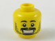 Part No: 3626cpb2180  Name: Minifigure, Head Black Eyebrows, Moustache, Goatee, Stubble, Wide Grin with Teeth Pattern - Hollow Stud