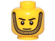 Part No: 3626cpb2228  Name: Minifigure, Head Black Eyebrows, White Pupils, Gold Chin Strap, Smile Pattern - Hollow Stud
