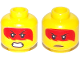 Part No: 3626cpb2234  Name: Minifigure, Head Dual Sided Female Red Hair with Open Mouth with Teeth, Grimace / Frown with Peach Lips Pattern (Harumi) - Hollow Stud