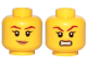 Part No: 3626cpb2245  Name: Minifigure, Head Dual Sided Female Brown Eyebrows, Peach Lips, Smile / Angry Pattern (Skylor) - Hollow Stud