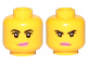 Part No: 3626cpb2271  Name: Minifigure, Head Dual Sided Female Black Eyebrows, Freckles, Eyelashes, Pink Lips, Smile  / Angry Pattern (Lucy Wyldstyle) - Hollow Stud