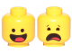Part No: 3626cpb2272  Name: Minifigure, Head Dual Sided Black Standard Eyes, Smile with Tongue / Scared Pattern (Benny) - Hollow Stud