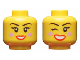 Part No: 3626cpb2314  Name: Minifigure, Head Dual Sided Female, Black Eyebrows, Bright Pink Blush, Red Lips, Smiling / Winking Right Eye Pattern - Hollow Stud