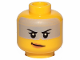 Part No: 3626cpb2326  Name: Minifigure, Head Female, Black Eyebrows, Gray Band, Peach Lips, Smile Pattern - Hollow Stud
