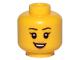 Part No: 3626cpb2381  Name: Minifigure, Head Female Black Eyebrows, Eyelashes, Peach Lips, Smile, Teeth Pattern - Hollow Stud