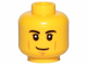 Part No: 3626cpb2385  Name: Minifigure, Head Black Eyebrows, White Pupils, Cheek Lines, Smirk Pattern - Hollow Stud